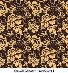 Flower vintage vector seamless pattern.