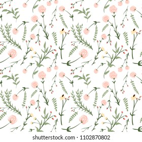 Flower wallpaper in romantic retro style for fabric, backdrop, wrappint paper, cover, cards, textile