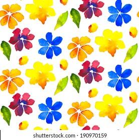 Flower watercolor seamless pattern. Vector illustration