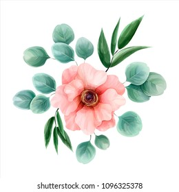 Flower watercolor, vector illustration. Botanical design. Pink anemone surrounded by eucalyptus leaves and italian ruscus. Romantic collection