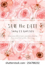 Flower wedding invitation card, save the date card, greeting card