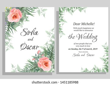 Flower wedding invitation template. Pink roses, eucalyptus, green plants and leaves. All elements are isolated.