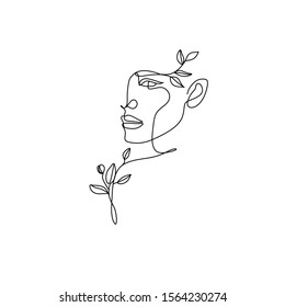 Flower in woman head. Vector line illustration. Line drawing. One line. Nature face. Nature cosmetics. Flower icon. Minimalist print. One Line Black White Drawing Artwork, Minimalist Couple Art, Minim