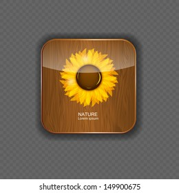 Flower wood application icons vector illustration