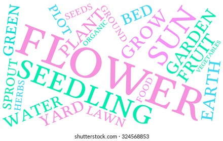 Flower word cloud on a white background.