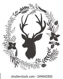 flower wreath around the deer head background