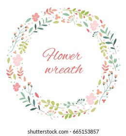 Flower wreath. Round frame of flowers and leaves. Natural decor of plants. Vector cartoon illustration. Pink and green. Cute flowers. White background isolated. Flat simple design, trendy style