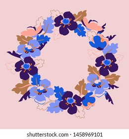 Flower wreath. Summer floral frame with bright leaves and flowers. Design for invitation, wedding or greeting cards.