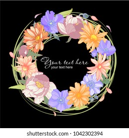 flower wreth on black background, vector illustration