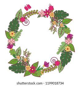 Flowera wreath isolated