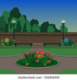 flowerbed in city park