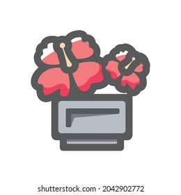 Flowerbed flower box Vector icon Cartoon illustration