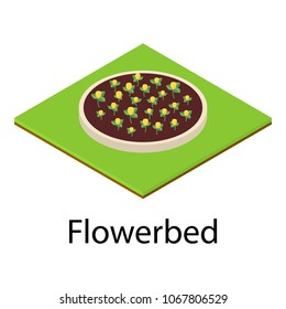 Flowerbed icon. Isometric illustration of flowerbed vector icon for web
