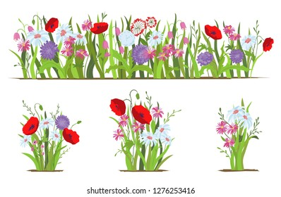 Flowerbed. Set of wild forest and garden flowers. Spring concept. Flat vector flower illustration isolate on a white background.