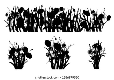 Flowerbed silhouette. Wild forest and garden flowers. Spring concept. Flat vector flower illustration isolate on a white background.