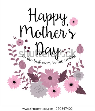 flowerfloral mothers day card template vectorillustration stock