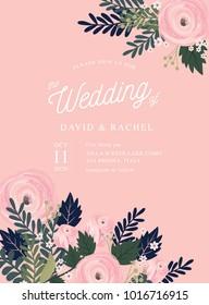 flower/floral wedding invitation card template vector/illustration