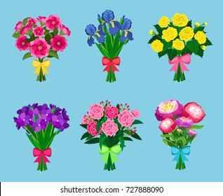 Flowering bouquets Set isolated on blue background. Bunch of flowers with bows for wedding or valentine vector illustration