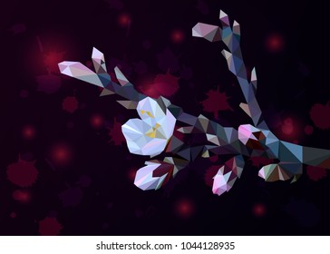 Flowering branch of almond with pink flowers from triangles with spots of paint. 10 tps