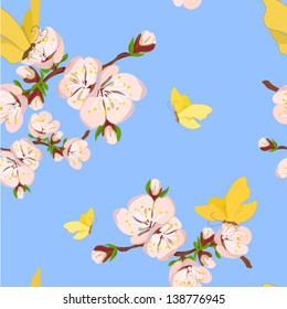 Flowering branch of apricot with butterflies on a blue background. Vector illustration.