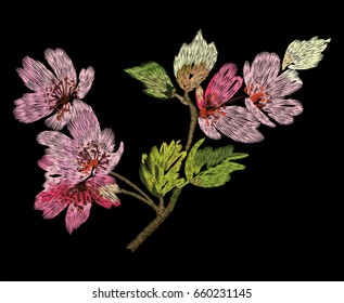 Flowering branch embroidery for clothes on a black background. Vector illustration.