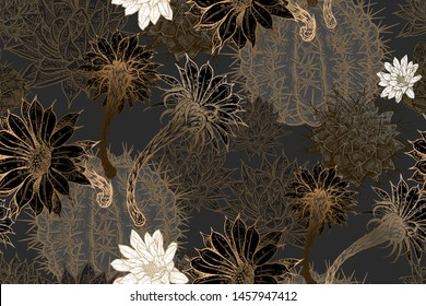 Flowering cacti. Gold, black, and white color. Floral seamless pattern. Decorative background for fabrics, textiles, wallpaper, paper. Vector illustration art. Exotic luxury decor.