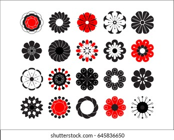 Flowering icon set. Stylized summer or spring flowers, floral design elements. Vector illustration in style of 70's. Cute 20 vector illustrations in flat style isolated on white background.