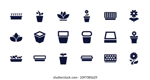 Flowerpot icon. collection of 18 flowerpot filled icons such as pot for plants, plant in pot. editable flowerpot icons for web and mobile.