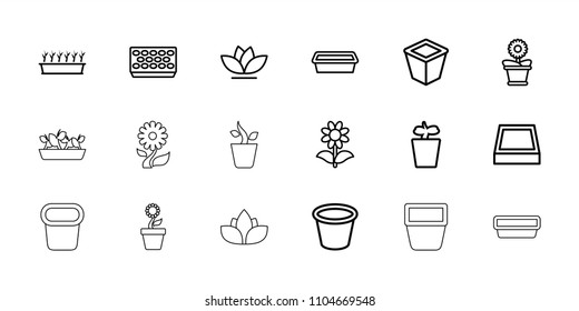 Flowerpot icon. collection of 18 flowerpot outline icons such as pot for plants, plant in pot. editable flowerpot icons for web and mobile.