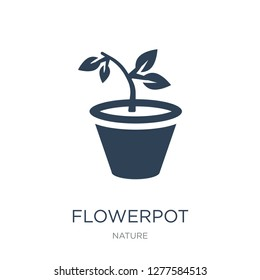 flowerpot icon vector on white background, flowerpot trendy filled icons from Nature collection, flowerpot vector illustration
