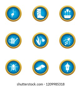 Flowerpot icons set. Flat set of 9 flowerpot vector icons for web isolated on white background