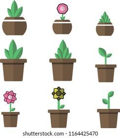 flowerpot icons vector
