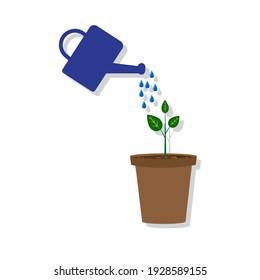 flowerpot watering can on white background. Editable stroke. Nature illustration. Stock image. EPS 10.