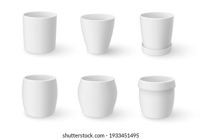 Flowerpots white design assortment realistic mock ups set. Ceramic plant garden pots. Place for image. Ready for your design. Vector pottery clay collection illustration isolated on background.