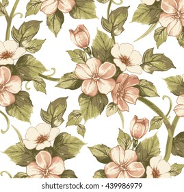 Flowers of Apple. Drawing, engraving. Freehand isolated realistic. Beautiful background blooming retro plant. White pink flowers victorian. Floral baroque. Vintage vector stock illustration textile