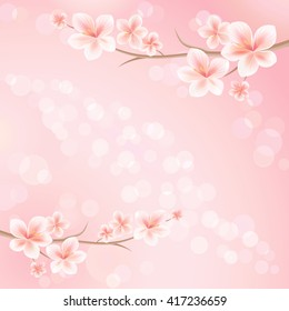 Flowers background. Flowers design. Vector abstract illustration. Sakura blossoms. Branch of sakura with flowers. Cherry blossom branch on pink color. Vector
