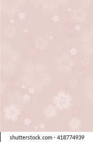 Flowers background. Flowers design. Vector abstract illustration. Sakura blossoms on light-pink-beige color. Vector.