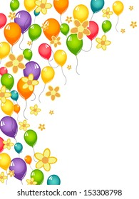 Flowers and balloons - vector