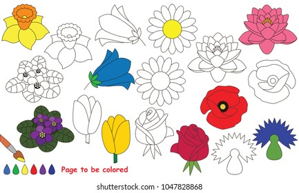 Flowers to be colored, the coloring book for preschool kids with easy educational gaming level.