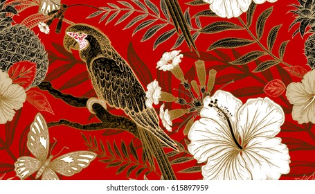 Flowers and birds seamless pattern. Hand drawing of wildlife. Print gold foil on red background. Exotic plants and parrots. Vector illustration art. Template for luxury fabrics, paper, summer textiles