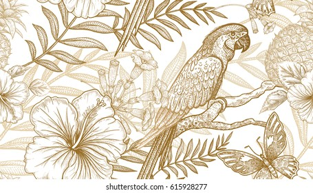 Flowers and birds seamless pattern. Hand drawing of wildlife. Print gold foil on white background. Exotic plants, parrots. Vector illustration art. Template for luxury fabrics, paper, summer textiles.