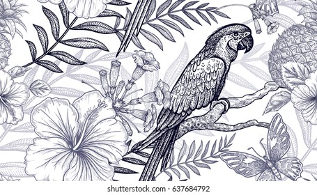 Flowers and birds seamless pattern. Hand drawing. Black and white. Palm branches, pineapples, hibiscus, butterflies, parrots. Vector art illustration. Template for fabrics, paper, summer textiles.