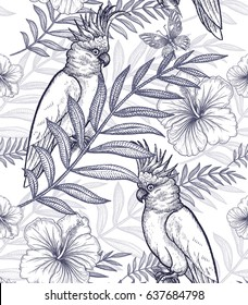 Flowers and birds seamless pattern. Hand drawing. Black and white. Exotic plants, palm branches, pineapples, hibiscus, butterflies, parrots. Vector art illustration for fabrics, paper, summer textiles