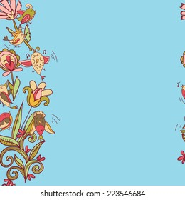 flowers and birds seamless texture border pattern. Endless floral pattern. Can be used for wallpaper or pattern, backdrop, surface textures. Full color seamless floral background