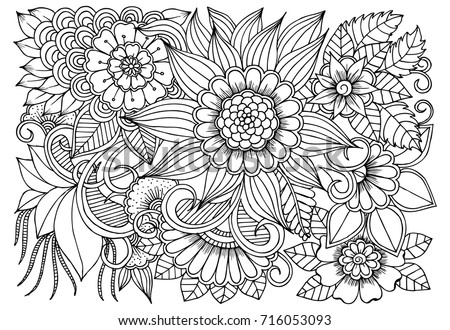Flowers Black White Adult Coloring Book Stock Vector Royalty Free