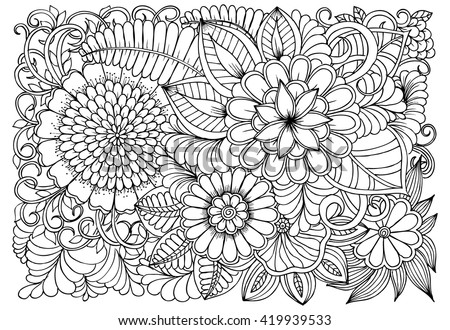 Flowers Black White Coloring Doodle Art Stock Vector (Royalty Free ...