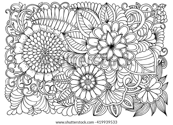 Flowers Black White Coloring Doodle Art Stock Vector ...