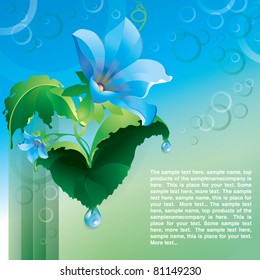 Flowers blue and drops  web page template