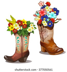 Flowers in boots isolated on a white background. Sketch of the poster, banner, placard, broadsheet floristry service and other card. Vector cartoon close-up illustration.