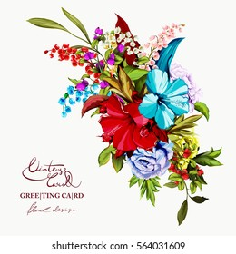 Flowers. Bouquet of roses and peony, lily of the valley, dog-rose (wild rose) with leaves. Vintage style.  Hand drawn flowers. Vector - stock.
